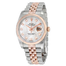 Rolex 18K Oyster Perpetual Datejust 36 Mother of Pearl Dial Stainless Steel Watc