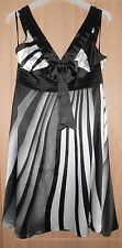 """Noir argent & blanc à rayures satin robe style taille 36"""""""