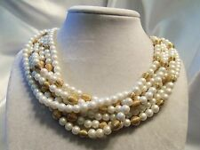 BEAUTIFUL Vintage Multi-Strand PEARL & Textured GOLDtone Accents Necklace 15N251