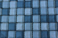1 SHEET 1 SQ FT Blue White Mosaic Tile Mesh Glass Bath Kitchen Swimming Pool
