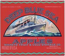 APPLE CRATE LABEL VINTAGE WAPATO OCEAN LINER RED 1930S DEEP BLUE SEA ORIGINAL