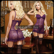 Edith SEXY Luxury Purple Lingerie Lace DRESS Underwear HOT Sleepwear Set Sex Toy