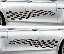 Seitendekor Aufkleber Autoaufkleber Rallystreifen Rennflagge Karo Tuning Dekor