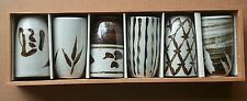 Set of 6 Japanese tea mugs in a Custom Wooden box - Labeled OMC