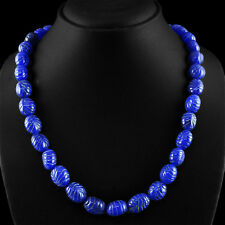 432.45 CTS EARTH MINED RICH BLUE SAPPHIRE GEM OVAL CARVED BEADS NECKLACE STRAND