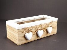 White Lid and 3 Hearts Wooden Tea / Trinket Storage Box With 3 Compartments #2