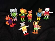 Lot Of 8 Bead Bazaar Zoo Friends Wooden Poseable Figures! High Quality! NWT HTF