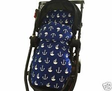 2in1 PRAM LINER FOOT MUFF SLEEPING BAG Cotton Nautical All Year Best GOOSEBERRY