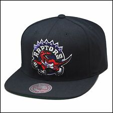 Mitchell & Ness Toronto Raptors Snapback Hat Cap All Black/Dinosaur Old Logo