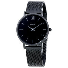 Cluse Minuit Black Dial Black Mesh Ladies Watch CL30011