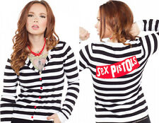 130208 Black & White Striped Sex Pistols Punk Cardigan Sweater Sourpuss XX-Large