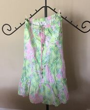 Lilly Pulitzer Tiered Skirt Peasant Giraffe Maxi Elastic Ladies XS Extra Small
