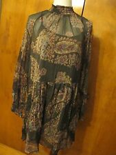 New w/tags Free People Women's Brown Combo Lined Detailed Dress Size Large