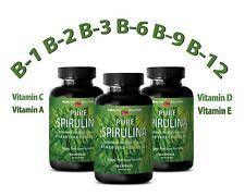 SPIRULINA - Pure Spirulina -  Plant Based Nutrients - 3 Bottles, 180 Caps