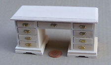 Finitura naturale 1:12 scala kneehole DESK DOLLS HOUSE miniature MOBILI PER UFFICIO