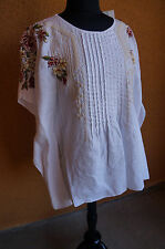 NEW Johnny Was JWLA Floral Embroiderd White Rosalie Pintuck Poncho Blouse Top S