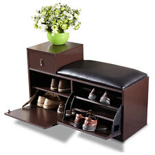 Brown Wood Shoe Bench Cabinet Rack with Ottoman Seat Closet Shelf Entryway