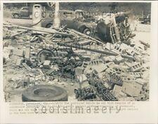 1957 Tornado Wrecked Garage & Cars Davenport Alabama Press Photo
