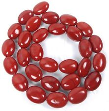 """14x10mm Natural Red / Vermilion Jasper Oval Beads 16"""""""