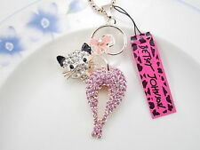 Betsey Johnson cute inlaid Crystal Rhinestone cat pendant necklace # F051