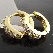 FSA044 GENUINE 18K YELLOW G/F GOLD SOLID DIAMOND SIMULATED HUGGIE HOOP EARRINGS