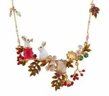 LES NEREIDES COUPLE OF RABBITS, WILD BERRIES AND MUSHROOMS NECKLACE