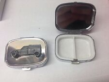 Citroen 2CV Van ref44 pewter effect car emblem on silver metal pill box