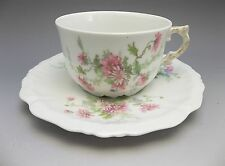 MCM Limoges France Tea Cup Saucer Set Pink Mum Flowers Porcelain