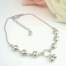 Cute Silver Alloy Chain Heart Link Love Charm Adjustable Anklet Beach Party 1016