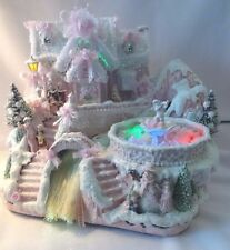 Shabby Chic Lighted Musical Pink Christmas Village House FIBER OPTIC River LARGE