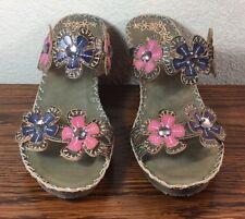 """SPRING STEP """"Deandrea"""" Sandals Slides Slip On Pink Blue Flowers Sz Euro 39 US 8"""