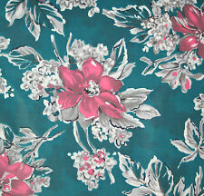 vintage 1950s pink floral print glazed cotton dress fabric piece
