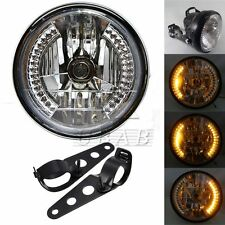 "8"" Universal Motorcycle Headlight Integrated Turn Signal+Black Mount Bracket Kit"