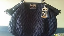 Authentic Coach 70th Anniversary Madison 18637 Navy Quilted Chevron.