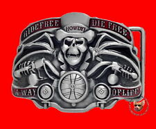 RIDE FREE SKULL MOTORCYCLE BELT BUCKLE STORAGE POUCH *FREE USA SHIP*