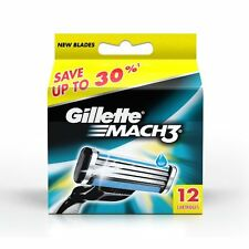 Gillette Mach3 Pack of 12 Cartridges Shaving Blades for Razor - Mach 3 - New