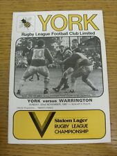 22/11/1981 Rugby League Programme: York v Warrington  . Condition: We aspire to