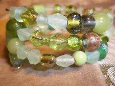 Hand Crafted GREEN Memory Wire Wrap BRACELET Glass BEAD Beach Gypsy Hippie D-40