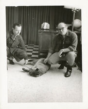 Real Tiger with Men at Home/Office * Real Photo 1950s UNUSUAL Pet  * RARE  3