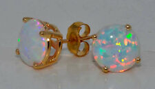 14Kt Yellow Gold Opal 5mm Round Stud Earrings