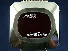 Vintage NOS Ravisa Electric System Jump Hour Digital Watch 1970s Swiss 17 Jewel