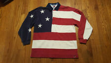 Tommy Hilfiger American Flag Long sleeve Polo Shirt LARGE red white blue VTG 90s