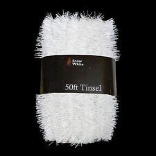 Christmas Tree Decoration 50ft x 3cm Tinsel Great Value - White