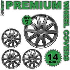 "Alpha 14"" WHEEL TRIMS/HUB CAPS Covers Silver Universal SET OF 4"