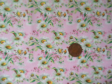 WHITE DAISIES ON PINK- 100% COTTON FABRIC F.Q.