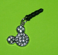 Mickey Mouse Bling Cell Phone Dust Plug fits standard earphone jack iphone