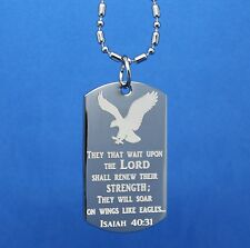 INSPIRATIONAL EAGLE DOG TAG NECKLACE ISAIAH 40:31 CUSTOMIZE THE BACK FOR FREE