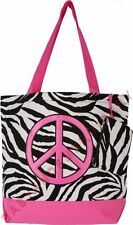 Tote Bag Purse Shopper Zebra Pink Peace Sign FREE Rhinestone Transfer