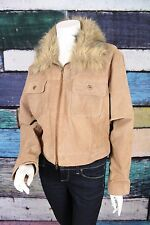 NEW Ashley Stewart Brown Crop Faux Fur Collar 100% Suede Leather Jacket Plus 2X