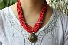 Nk175 Nepal Handmade Tibetan Multi Rows Red Beads Brass Charm Pendant Necklace